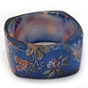 Chunky Blue Resin 'Floral Print' Square Bangle Bracelet - up to 21cm wrist