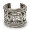 Wide Mesh Crystal Cuff Bangle In Silver Plating - 6cm Width