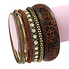 Antique Gold Metal & Mahogany Brown Animal Print Wood Bangle Set of 7 - 18cm Length