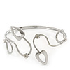 Silver Plated Textured Diamante 'Hearts' Armlet Upper Arm Cuff Bracelet - Adjustable