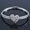 Clear Diamante 'Heart' Bracelet In Rhodium Plating - 17cm Length