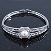 Classic Crystal, Simulated Pearl Bracelet In Rhodium Plating - Up to 17cm Length