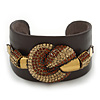 Smoke Topaz/ Citrine Swarovski Crystal &#039;Knot&#039; Dark Brown Leather Flex Cuff Bracelet - Adjustable