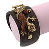 Crystal 'Gecko Lizard' Dark Brown Leather Flex Cuff Bracelet - Adjustable