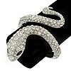 Stunning Swarovski Crystal Coiled Snake Hinged Bangle Bracelet In Rhodium Plating - 18cm Length
