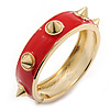 Red Enamel Spike Hinged Bangle Bracelet In Gold Plating - 19cm Length