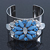 Rhodium Plated Light Blue/ Milky White Acrylic Bead Floral Cuff Bangle - up to 20cm Length