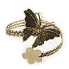 Vintage Inspired Hammered Butterfly & Flower Upper Arm, Armlet Bracelet In Antique Gold Tone - Adjustable