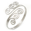 Greek Style Twirl Upper Arm, Armlet Bracelet In Silver Plating - Adjustable