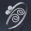 Rhodium Plated Small Swirls Crystal Upper Arm Bracelet - Adjustable