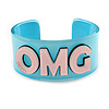 Light Blue/ Pale Pink 'OMG' Acrylic Cuff Bracelet Bangle (Kids/ Teen Size) - 16cm L