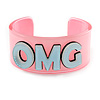 Light Pink/ Pale Blue 'OMG' Acrylic Cuff Bracelet Bangle (Kids/ Teen Size) - 16cm L
