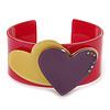 Magenta, Yellow, Purple Acrylic, Austrian Crystal Hearts Cuff Bracelet - 19cm L
