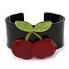 Black, Light Green, Red Crystal Cherry Acrylic Cuff Bracelet - 19cm L