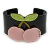 Black, Light Green, Pink Crystal Cherry Acrylic Cuff Bracelet - 19cm L
