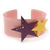 Light Pink Acrylic Cuff Bracelet With Crystal Double Star Motif (Purple, Yellow) - 19cm L