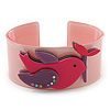 Light Pink, Magenta, Purple Acrylic, Austrian Crystal Dove Cuff Bracelet - 19cm L