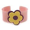 Light Pink, Purple, Yellow 'Modern Flower' Acrylic Cuff Bracelet - 19cm L