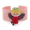 Light Pink, Yellow, Purple, Magenta Acrylic, Austrian Crystal Wide Angel Cuff Bracelet - 19cm L