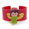 Magenta, Light Green, Yellow, Purple Acrylic, Austrian Crystal Wide Angel Cuff Bracelet - 19cm L