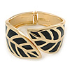 Black Enamel 'Leaf' Hinged Bangle In Gold Plated Metal - 18cm Length