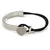Clear Crystal Heart Bangle Bracelet With Black Silk Stretch Cord In Silver Tone - 18cm L