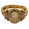 Vintage Inspired Citrine Crystal Cameo Hinged Bangle Bracelet In Burnt Gold Tone - 19cm L