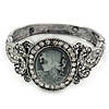 Vintage Inspired Crystal Cameo Hinged Bangle Bracelet In Burnt Silver Tone - 19cm L