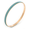 Thin Pale Blue Enamel Bangle Bracelet In Gold Plating - 19cm L