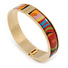 Multicoloured Enamel Hinged Bracelet Bangle In Gold Plating - 18cm L