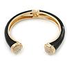 Black Enamel, Crystal Hinged Cuff Bangle Bracelet In Gold Plated Metal - 19cm L