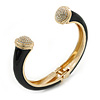 Black Enamel, Crystal Hinged Cuff Bangle Bracelet In Gold Plated Metal - 19cm L