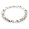 Bridal/ Prom White Simulated Pearl, Clear Crystal Flex Bracelet - Adjustable