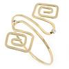 Polished Gold Tone Swirl Squares Upper Arm, Armlet Bracelet - 27cm L - Adjustable