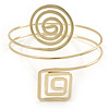 Polished Gold Tone Swirl Cirle and Square Motif Upper Arm, Armlet Bracelet - 27cm L