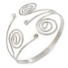 Swirl, Diamante Upper Arm, Armlet Bracelet In Silver Tone - 27cm L - Adjustable