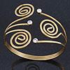 Vintage Inspired Swirl, Diamante Upper Arm, Armlet Bracelet In Gold Plating - 27cm L - Adjustable