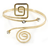 Polished Gold Tone, Crystal Swirl Cirle and Square Motif Upper Arm, Armlet Bracelet - 27cm L - Adjustable