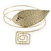 Gold Tone Leaf and Square Motif Upper Arm, Armlet Bracelet - 27cm L
