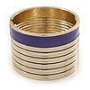 Wide Purple/ White Enamel Stripy Hinged Bangle In Gold Plating - 19cm L