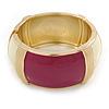 Chunky Cream/ Plum Enamel Hinged Bangle Bracelet In Gold Tone - 19cm L