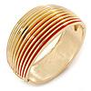 Red Enamel, 'Ruffled' Hinged Bangle Bracelet In Gold Plating - 19cm L