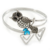 Vintage Inspired Crystal Owl Upper Arm, Armlet Bracelet In Silver Tone - 27cm L - Adjustable