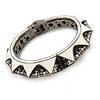 Statement White Enamel Top Grade Austrian Crystal Hinged Bangle Bracelet In Gun Metal (Black, Grey, Clear) - 18cm L
