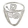 Silver Tone Swirl & Square Hammered Upper Arm/ Armlet Bracelet with Chains - Adjustable