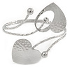 Silver Plated Hammered Double Heart Armlet Bangle - Adjustable