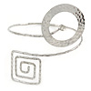 Hammered Open Circle And Square Upper Arm/ Armlet Bracelet In Silver Tone - Adjustable