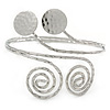 Silver Tone Hammered Circles And Swirls Upper Arm/ Armlet Bracelet - Adjustable