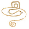 Polished Gold Tone Square and Circle Geomentric Upper Arm, Armlet Bracelet - 27cm L - Adjustable