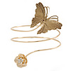 Vintage Inspired Hammered Butterfly & Flower Upper Arm, Armlet Bracelet In Gold Tone - 27cm Length